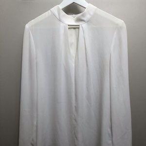 Suzy Shier Sheer White Blouse